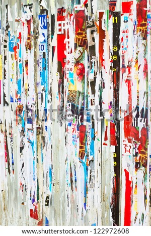 Torn advertisement posters, may be used as background #122972608