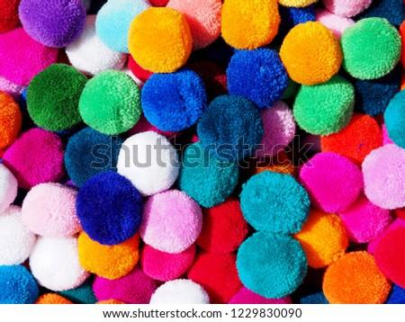 Closeup colorful fabric balls. #1229830090