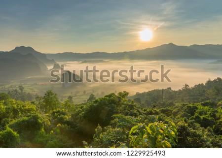Sunrise and The Mist  , Landscape at Phu Langka, Payao Province, Thailand #1229925493