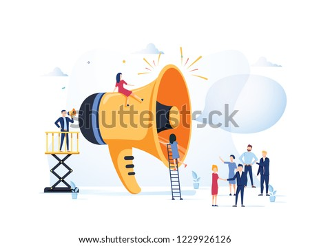 Business Advertising Promotion. Loudspeaker Talking to the Crowd. Big Megaphone and Flat People Characters Advertisement Marketing Concept. Vector illustration. Announcement business communication #1229926126
