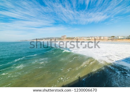 Waves and clouds in Pacific Beach, San Diego. Southern California, USA #1230006670