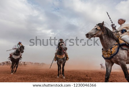 These riders participate to the traditional Fantasia 23 september 2017 in Oujda , Morocco. More than a thousand riders participate in this event. #1230046366