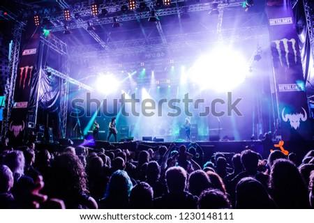 Tolmin, Slovenia - July 26th 2017: German hard rock singer Doro performs on stage at Metaldays Festival in Tolmin, Slovenia #1230148111