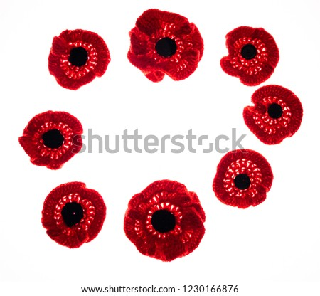 Collection Of Knitted Red Poppies Isolated On White Background #1230166876