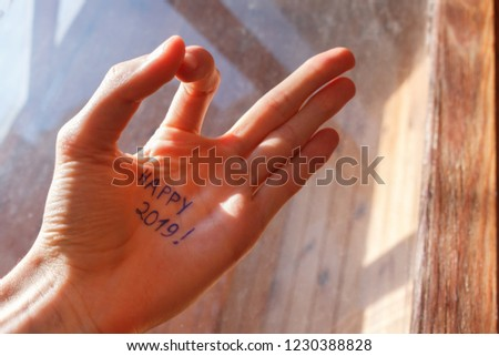 Close-up of male palm with happy 2019 inscription made in blue ink. the sun's rays fall on the hand with okay gesture #1230388828