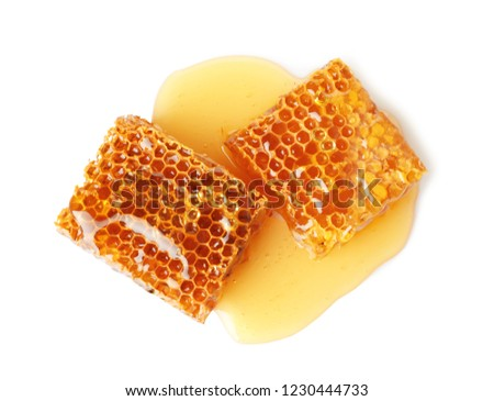 Fresh honeycombs on white background, top view #1230444733