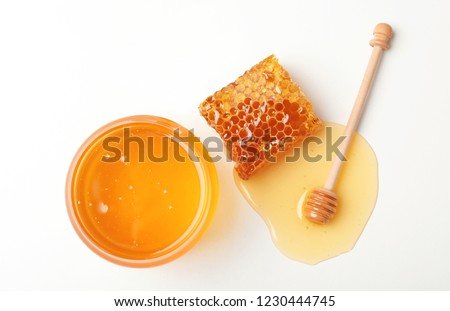 Composition with fresh honey on white background, top view #1230444745
