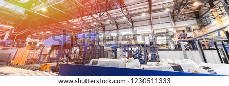 Fiberglass production industry equipment at manufacture background #1230511333