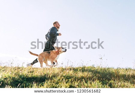 Man runs with his beagle dog. Morning Canicross exercise. #1230561682