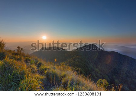Beautiful sunrise on the mountain