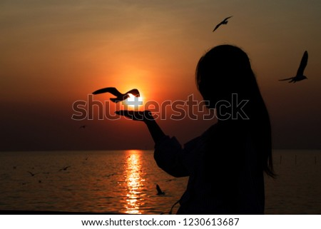 People with activity, People with Activity, The sun on woman hand with bird and the sea romantic emotions #1230613687