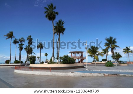 La Paz Baja California Sur, Mexico beach near the sea promenade called Malecon #1230648739