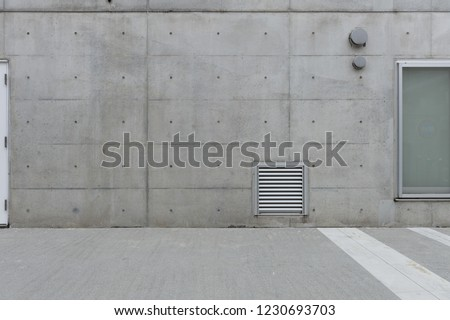 street wall background ,Industrial background, empty grunge urban street with warehouse brick wall #1230693703