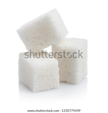 Close-up of three white sugar cubes, isolated on white background #1230774349