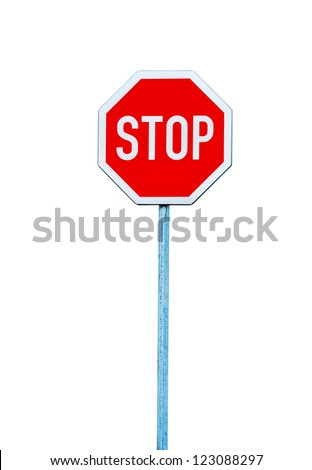 Stop sign, traffic sign isolated on white.