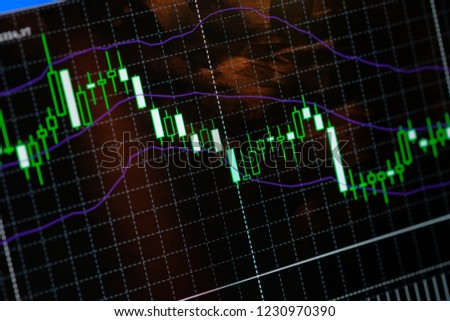 Bollinger Bands with MACD indicator , economic growth of concept Stock market or forex trading graph and candlestick chart suitable for financial investment concept, Background for Economy con #1230970390