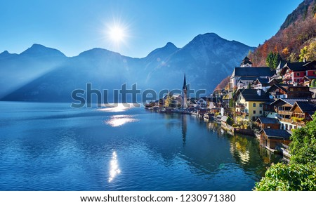Beautiful late autumn landscape of Hallstatt mountain village with Hallstatter lake in Austrian Alps. Salzkammergut region, Austria