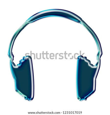 Dark blue shiny glass headphones icon music and audio symbol in a 3D illustration with a bright beveled edge highlight and blue glow isolated on a white background with clipping path