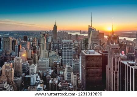 Sunset on downtown Manhattan neighborhood in New York City, United States of America. #1231019890