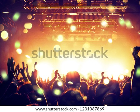 Concert hall with clapping crowd people #1231067869