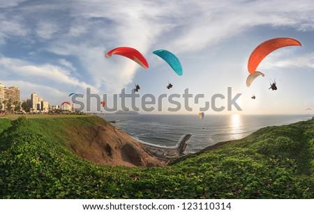 LIMA, PERU: paragliding in Miraflores. #123110314