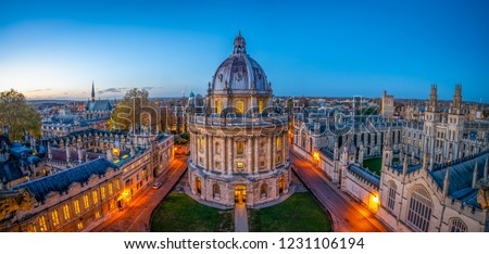 Evening skyline panorama of Oxford city in England Royalty-Free Stock Photo #1231106194