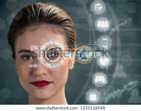 Pretty woman with virtual technology network icon. #1231126048