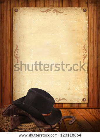 Western background with cowboy clothes and old paper