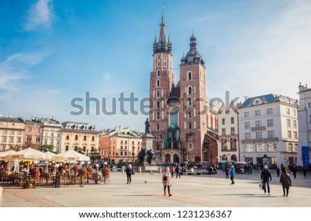 Krakow, Poland - October 10, 2018: St. Mary's Basilica (Church of Our Lady Assumed into Heaven) in Krakow, Poland  #1231236367