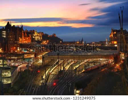 Winter evening sunset in Edinburgh, Scotland. #1231249075