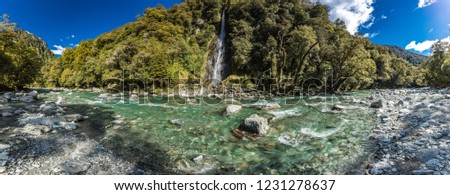 Thunder Creek Waterfall in Mt Aspiring National Park, Haast Pass, West Coast Region, South Island, New Zealand #1231278637