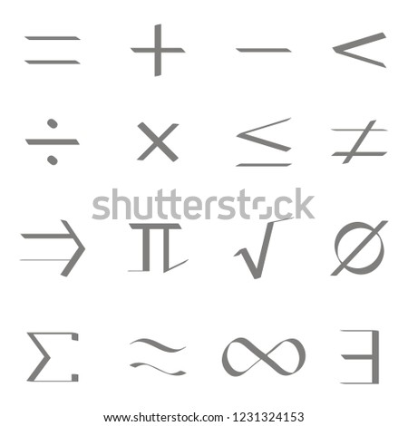Set of monochrome icons with mathematical symbols for your design  #1231324153