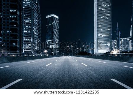 Shanghai Lujiazui Finance and Trade Zone of the modern city night background #1231422235