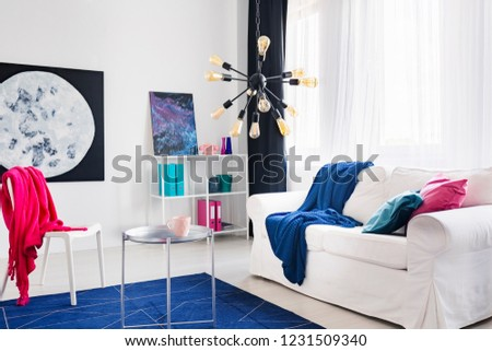 Blue blanket on white sofa and pink cloth on chair in living room interior with posters. Real photo #1231509340