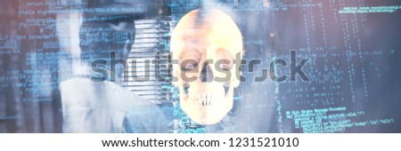 Blue data against orange human skull #1231521010