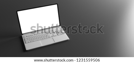 Computer laptop with blank white screen isolated on black background, banner, copy space. 3d illustration #1231559506