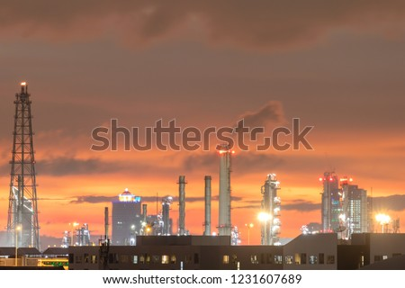 oil refinery plant with twilight sky after sunset #1231607689