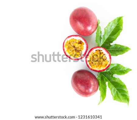 Closeup top view passion fruit on white background, fruit for healthy concept #1231610341