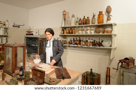 Lisbon, Portugal ; 04 05 2018 :Pharmacist in  Pharmacy and Health Museum in Lisbon, Portugal. #1231667689