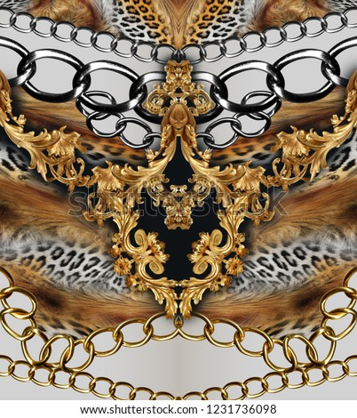 leopard skin and golden chain golden baroque