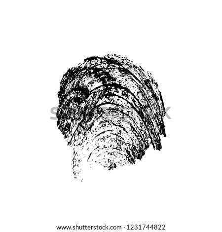 Black And White Distressed Grunge Brush Stroke Template. Black Paint Vector Texture. Dirty Creative Design Overlay Elements #1231744822