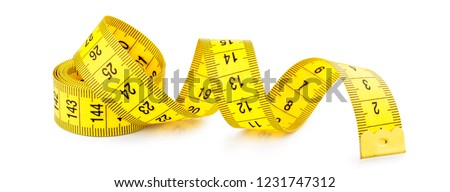 Yellow measuring tape isolated on white background #1231747312