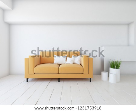 Idea of a white scandinavian living room interior with sofa, vases on the wooden floor and decor on the large wall and white landscape in window. Home nordic interior. 3D illustration #1231753918