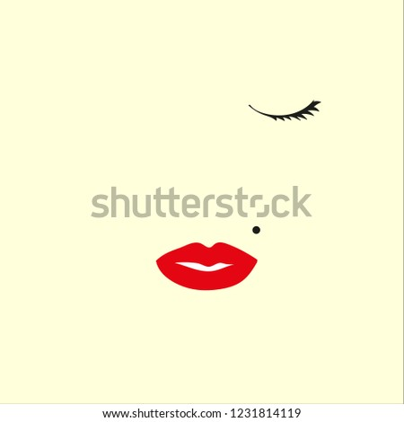 red lips on white background