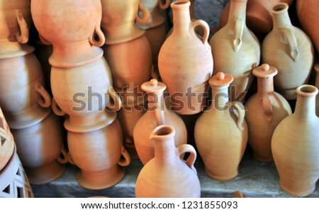 Moroccan Pottery Exposed in Complexe des Potiers / Pottery Complex, Oulja, Salé, Rabat, Morocco  #1231855093