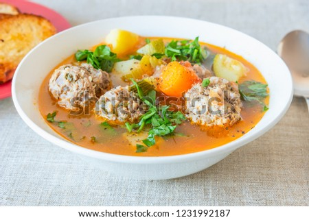 Spanish soup with meatballs and vegetables - Albondigas #1231992187