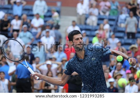 NEW YORK - SEPTEMBER 3, 2018: 13-time Grand Slam champion Novak Djokovic of Serbia celebrates victory after his 2018 US Open round of 16 match at Billie Jean King National Tennis Center #1231993285
