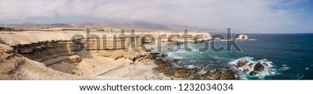 Panoramic pic of La Portada, stones arch in Antofagasta, Chile desert in atacama