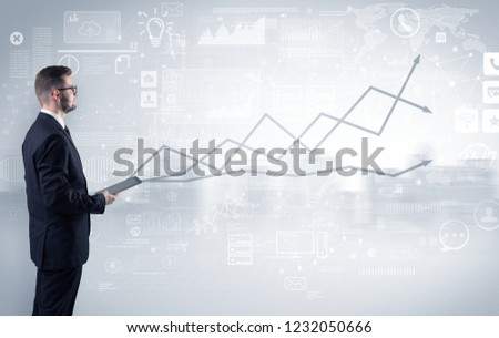 Adviser standing and presenting economical results of a global company #1232050666