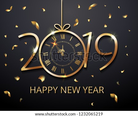 Happy New Year 2019 - New Year Shining luxury premium background with gold clock and  glitter confetti decoration. Time twelve o'clock. Vector winter holiday greeting card design template celebration #1232065219